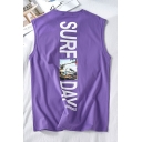 Guys Hip Hop Style Figure Letter SURF DAY Printed Sleeveless Tank Top