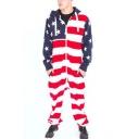 Popular American Flag Star Printed Hoodie Long Sleeve Zip Up Loose Casual Jumpsuits