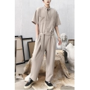 Mens Summer Stylish Unique Tied Collar Short Sleeve Tied Waist Solid Color Baggy Jumpsuits Coveralls