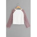 Fashionable Colorful Striped Long Sleeve Round Neck White Kinking Loose T-Shirt