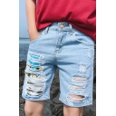 Summer Mens Cartoon Dog Printed Destroyed Ripped Light Blue Casual Denim Shorts