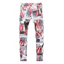 New Fashion American Flag Printed White Stretch Slim Fit Jeans for Guys
