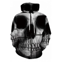 New Trendy 3D Skull Printed Long Sleeve Relaxed Grey Hoodie