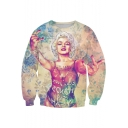 Marilyn Monroe Floral Figure 3D Printed Round Neck Long Sleeve Pullover Sweatshirt