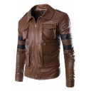 Stylish Cool Striped Tape Patched Long Sleeves Multiple Pockets Zip Closure Leather Jacket