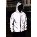 mens Fashionable Unisex Solid Color Long Sleeve Zip Up Reflective Grey Hooded Track Jacket