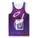 PYREX Cup Hip Hop Style Breathable Mesh Panel Sport Casual Tank Top for Guys
