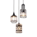 Kitchen Pendant Lights Crystal with Hanging Cord, Adjustable Drum Ceiling Lights in Black Modern with Clear Crystal