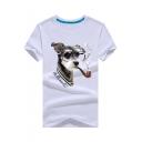 Summer New Trendy Glasses Dog Pattern Short Sleeve T-Shirt