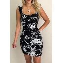 Summer Fashionable Sleeveless Floral Printed Mini Bodycon Dress