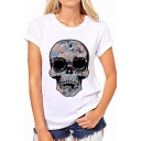 New Trendy Cool Skull Printed Round Neck Short Sleeve Relaxed White T-Shirt