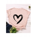 New Stylish Heart Pattern Round Neck Short Sleeve Cotton Tee