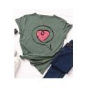 New Stylish Heart Printed Round Neck Basic Loose Cotton T-Shirt