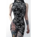 Stylish Spider Web Printed Mock Neck Sleeveless Black Mini Bodycon Dress