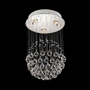 Modern Polished Chrome Flush Mount Lighting with Crystal Ball 3/5/7/14 Lights Clear Crystal Chandelier