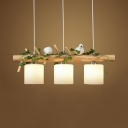 Drum Dining Room Hanging Island Lights Glass 3 Lights Modern Height Adjustable Hanging Pendant with 18