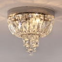 Clear Crystal Ceiling Light Fixture for Living Room 3/4/5-Light Antique Style Flushmount Lighting