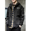 Mens Fashion Letter Printed Velcro Flap Pocket Zip Placket Hooded Coat Jacket