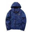Men's Unique Ink Pattern Outdoor Windproof Sport Casual Hooded Zip Up Windbreaker Track Jacket