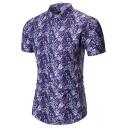 Men's Summer Tropical Leaf Printed Short Sleeve Slim Fit Button Front Purple Shirt