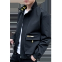 Men's New Fashion Simple Letter Stand-Collar Long Sleeve Large Flap Pocket Zip Up Black Jacket