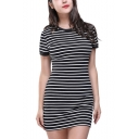 Fashion Classic Striped Printed Round Neck Short Sleeve Black Mini T-Shirt Dress