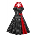 Color Block Halterneck Polka-Dot Print Bow-Tied Waist Midi A-Line Flared Black Dress