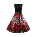Retro Style Notes Rose Printed Sleeveless Bow-Tied Waist Midi Flare Dress