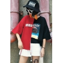 Street Style Color Block Letter Pattern Half Sleeve Asymmetrical Cropped T-Shirt