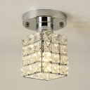Modern Gold/Silver Semi Flush Mount Lighting with Rectangular Shade Single Light Clear Crystal Ceiling Light