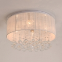 Vintage Style White Fabric Flush Mount with Drum Shade 4-Light Ceiling Lighting, H8