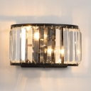 Contemporary Style Wall Light Fixture 2 Lights Metal and Clear Crystal Sconce Lighting in Black/Bronze
