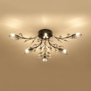 Leaf Semi Flush Mount Light with Clear Crystal Multi Lights Contemporary Style Metal Ceiling Lighting in Black