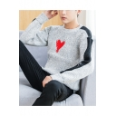 Mens Trendy Heart Print Front Colorblock Long Sleeve Marled Knit Sweater