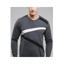 Mens Colorblock Striped V-Neck Long Sleeve Fitted Business Sweater