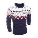 Stylish Colorblock Geometric Printed Crew Neck Long Sleeve Fitted Sweater for Men