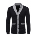 Mens Fashion Colorblock V-Neck Long Sleeve Button Closure Fitted Cardigan