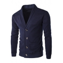 Simple Patchwork Fashion Solid Color V-Neck Button Down Slim Cardigan for Men