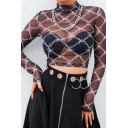 Sexy Lattice Printed Mock Neck Long Sleeve Black Transparent Mesh Crop T-Shirt