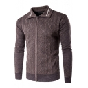Men's Fashion Striped Turn-Down Collar Rhombus Knit Zip Up Fitted Cardigan
