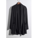 Guys Hip Hop Style Plain Shawl Collar Open Front Long Cardigan