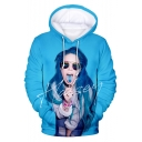New Popular American Singer 3D Figure Pattern Loose Fit Blue Hoodie