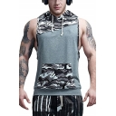 Summer Men's Sport Casual Fashion Camouflage Patched Sleeveless Breathable Drawstring Hooded T-Shirt