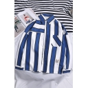 Mens Loose Casual Fashion Vertical Stripe Printed Long Sleeve Button-Up Shirt