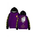 Popular American Rapper 3D Letter Figure Printed Color Block Long Sleeve Unisex Purple Hoodie