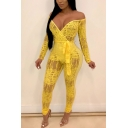 Hot Popular Stylish Printed Off the Shoulder Long Sleeve Tied Waist Slim Fit Jumpsuits