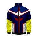 Fashion 3D Cosplay Colorblock Comic Stand Collar Zip Closure Blue Jacket