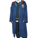 Cool Popular Harry Potter University Badge Patched Hooded Longline Blue Cape Cloak