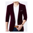 Mens Trendy Notched Lapel Velvet Long Sleeve Single Button Casual Slim Business Suit Blazer