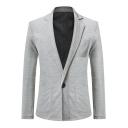 Hot Fashion Notched Lapel Collar Long Sleeve Single Button Plain Suit Blazer Coat